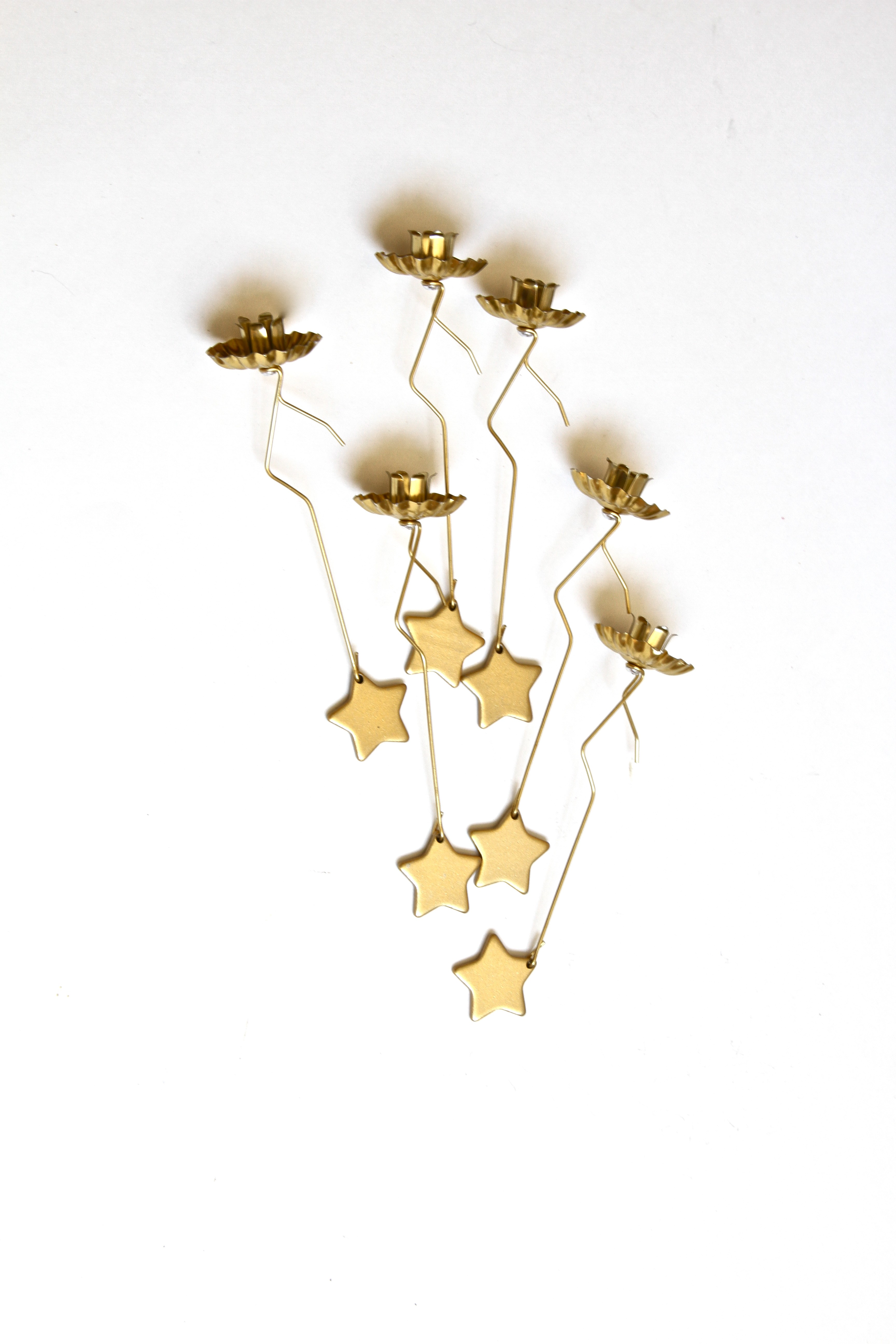Christmas Tree Candle Holder.Pendulum Christmas Tree Candle Holder With Star Weight In Gold