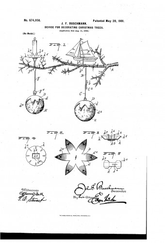 Historic Christmas tree counter-balance pendulum candle holders and clips - Patent. www.christmasgiftsfromgermany.com